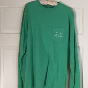Vineyard Vines Green Whale Pocket Long Sleeve T